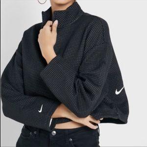 Nike cropped black white dot quarter zip mock neck jacket sweatshirt